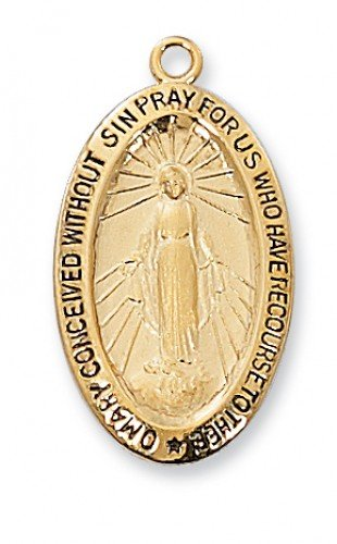 Miraculous Medal in Gold Plated Sterling Silver