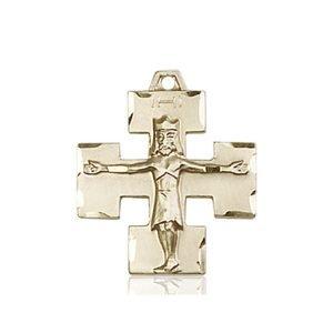 14kt Gold Modern Crucifix Medal #87599