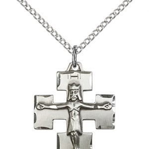 Sterling Silver Modern Crucifix Necklace #87600