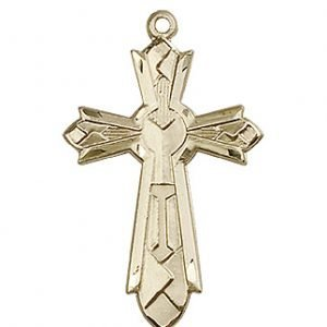 14kt Gold Mosaic Cross Medal #87997