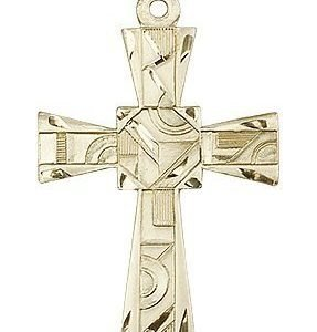14kt Gold Mosaic Cross Medal #88001