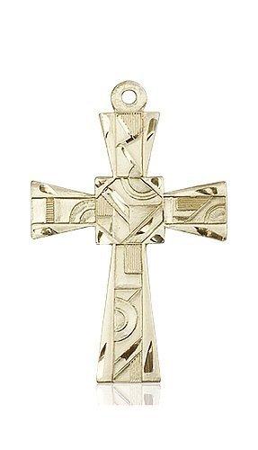 14kt Gold Mosaic Cross Medal #88001