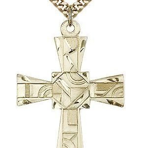 Gold Filled Mosaic Cross Necklace #87999
