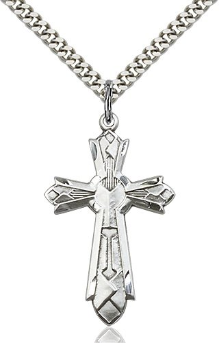 Sterling Silver Mosaic Cross Necklace #87998