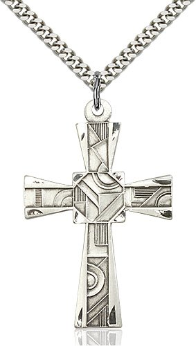 Sterling Silver Mosaic Cross Necklace #88002