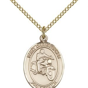 Gold Filled St. Christopher/Motorcycle Pendant