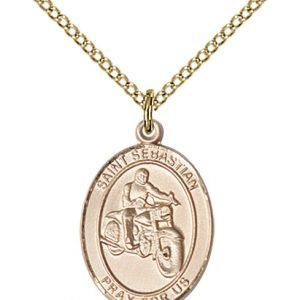 Gold Filled St. Sebastian / Motorcycle Pendant