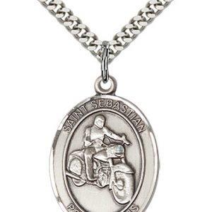 Sterling Silver St. Sebastian / Motorcycle Pendant