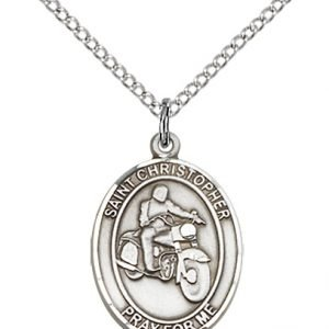 Sterling Silver St. Christopher/Motorcycle Pendant