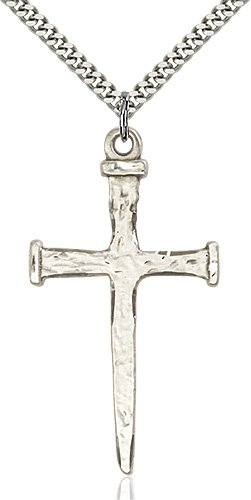 Sterling Silver Nail Cross Necklace #86891
