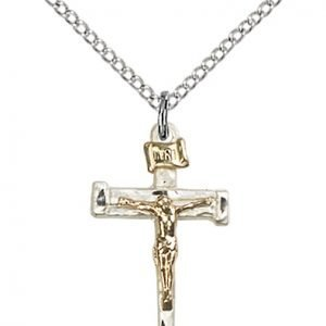Two-Tone GF - SS Nail Crucifix Necklace #87563