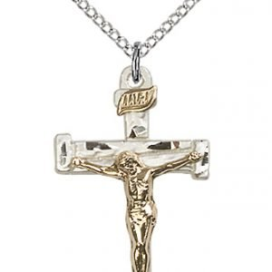 Two-Tone GF - SS Nail Crucifix Necklace #87564