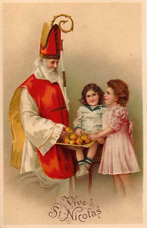 Holy Card Image of Saint Nicholas and Children with a bowl of Oranges