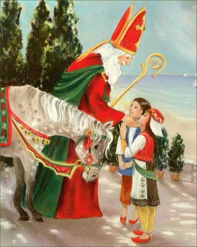 St Nicholas and his Horse greet Children