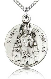 Religious Medal Showing St. Nicholas and Children
