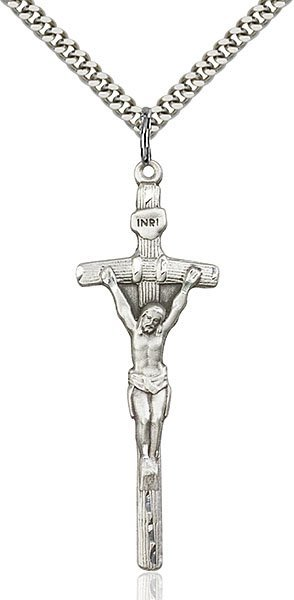 Papal Crucifix Necklace - Sterling Silver (#87056)
