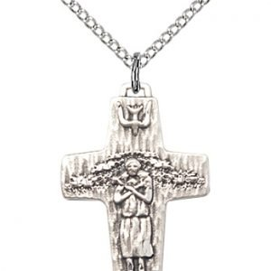 Sterling Silver Papal Crucifix Necklace #87064