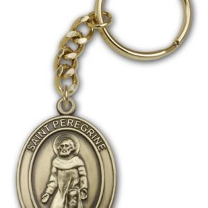 Antique Gold St Peregrine Keychain