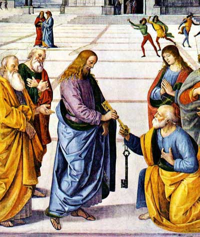 Image Portraying Peter Receiving the Keys to the Church From Jesus