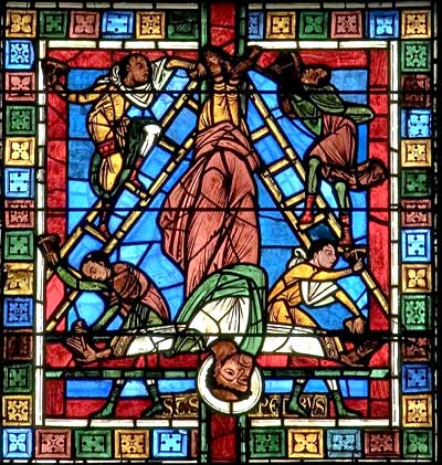 Stained Glass Window of the Crucifixion of St. Peter