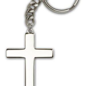 Silver Plate Cross Keychain