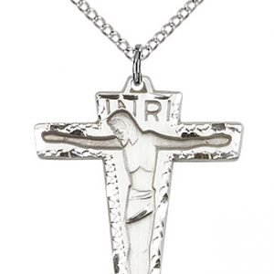Sterling Silver Primative Crucifix Necklace #87232