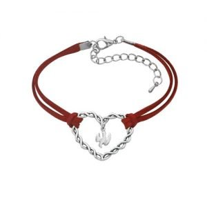 Red Cord Heart Confirmation Bracelet