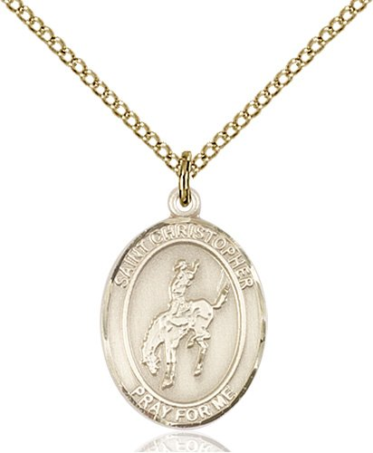 Gold Filled St. Christopher / Rodeo Pendant