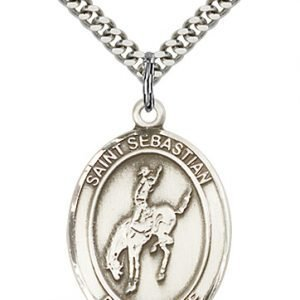 Sterling Silver St. Sebastian / Rodeo Pendant