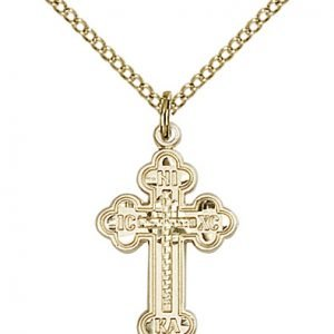 Gold Filled Russian Cross Necklace #87009