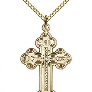 Gold Filled Russian Cross Necklace #87013