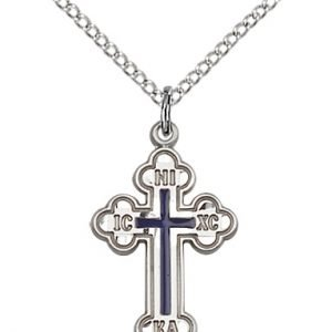 Sterling Silver Russian Cross Necklace #87008