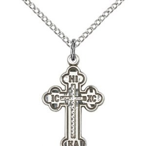 Sterling Silver Russian Cross Necklace #87012