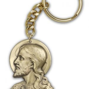 Antique Gold Sacred Heart Keychain