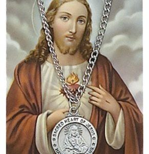 Sacred Heart Pendant and Prayer Card Set