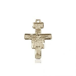 14kt Gold San Damiano Crucifix Medal #88117