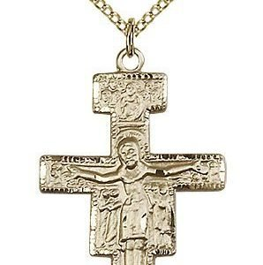 Gold Filled San Damiano Crucifix Necklace #88111