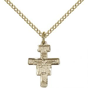 Gold Filled San Damiano Crucifix Necklace #88115