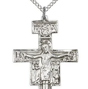 Sterling Silver San Damiano Crucifix Necklace #88114