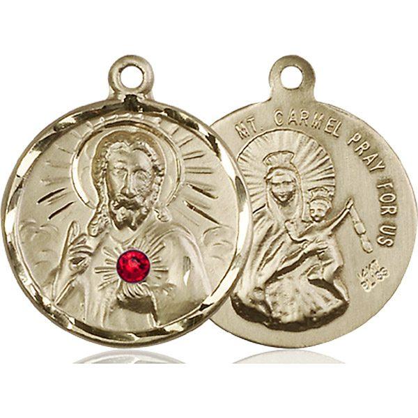 Scapular Medal - July Birthstone - 14 KT Gold #88136