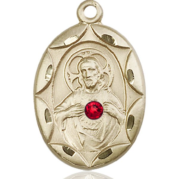 Scapular Medal - July Birthstone - 14 KT Gold #88397