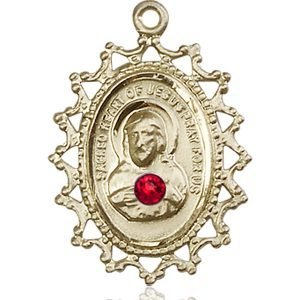 Scapular Medal - July Birthstone - 14 KT Gold #88403