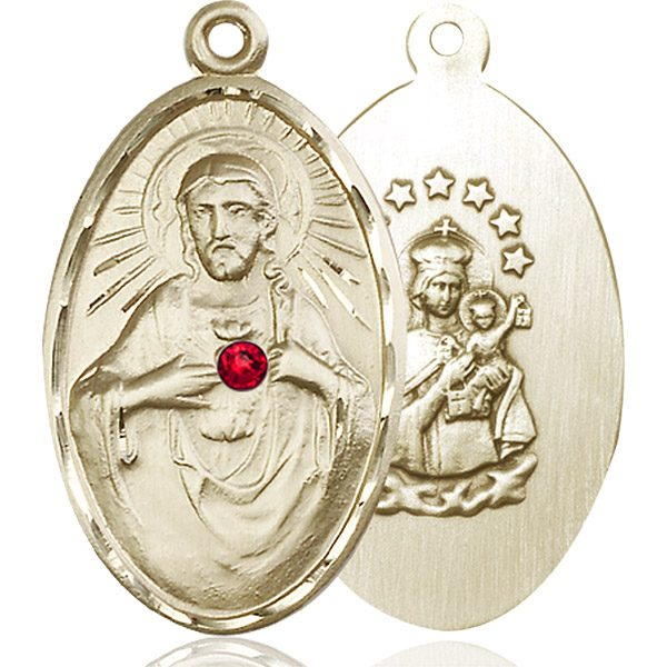 Scapular Medal - July Birthstone - 14 KT Gold #88406