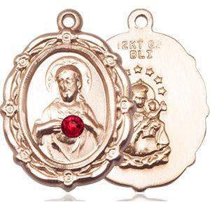 Scapular Medal - July Birthstone - 14 KT Gold #88787