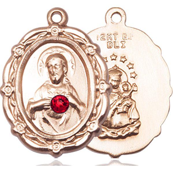Scapular Medal - July Birthstone - 14 KT Gold #88787