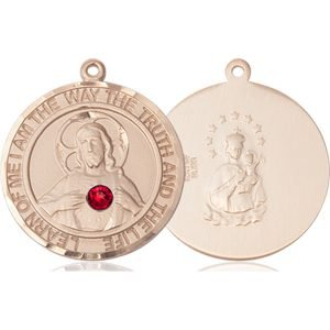 Scapular Medal - July Birthstone - 14 KT Gold #89662