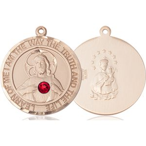 Scapular Medal - July Birthstone - 14 KT Gold #89668