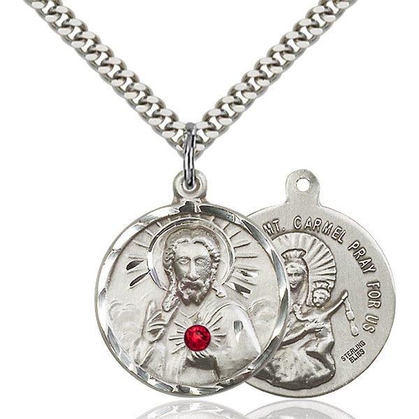 Scapular Pendant - July Birthstone - Sterling Silver #88137
