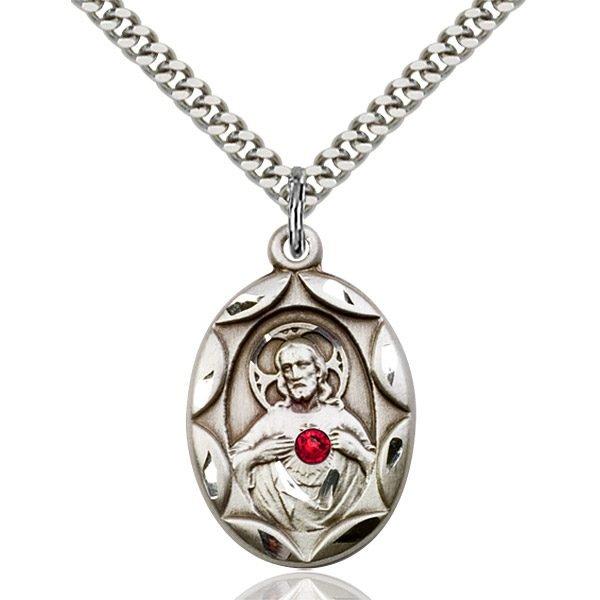 Scapular Pendant - July Birthstone - Sterling Silver #88398