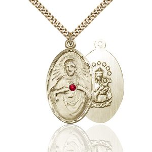 Scapular Pendant - July Birthstone - Gold Filled #88405